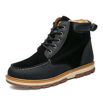 Winter Snow Boots Men Shoes Casual Warm Velvet Male Ankle Boot Patchwork Footwear
