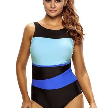 Chic Color Block Accent Hollow-out One Piece Swimsuit