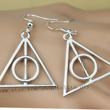 Deathly hallows earrings, harry potter, silver, copper, for her gifts, Christmas gifts, friendship, bridesmaid gifts