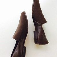 Brown leather flats elastic and leather flats minimalist flats minimalist shoes brown flats brown shoes size 7.5 flats 90s flats size 8 shoe