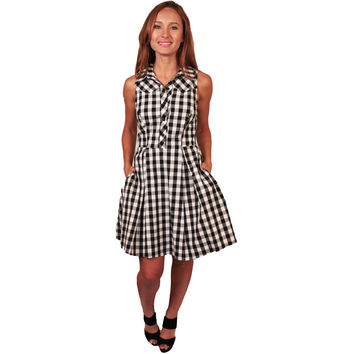 Black and White Gingham Rockabilly Style Dress