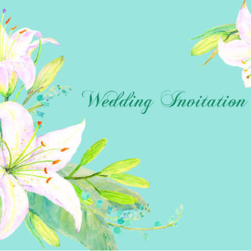 Wedding clipart - Hand painted watercolor white lily clipart printable instant download  for greeting cards wedding invitations