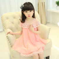 New Summer Costume Girls Princess Dress Children's Evening Clothing Kids Chiffon Lace Dresses Baby Girl Party Pearl Dress