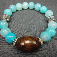 Aqua Agate Gemstone and Dark Wood Bead Bracelet