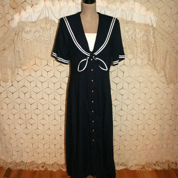 Sailor Dress 80s Dress Navy Blue Nautical Button Up Rayon Maxi Tea Length Short Sleeve 1980s Retro Dress Size 12 Dress Large Womens Clothing