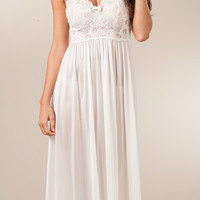 Shadowline Gown - Sleeveless Long Nightgown in Ivory