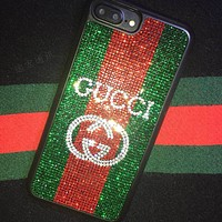 GUCCI Diamond  GREEN RED Crystal IPhonex mobile phone shell shihua luo 8plus popular logo water diamond iphone7p personality atmosphere 6s female double G.