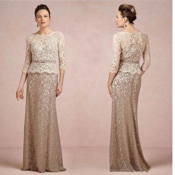 Brown And Champagne Long Sleeve Lace Mother of the Bride Dresses 2016 Mermaid Mom Godmother Groom Mother Dresses Gowns