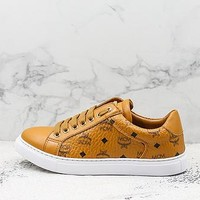 Mcm Angel Visetos Classic Khaki Leather Sneakers - Best Deal Online