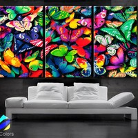 "LARGE 30""x 60"" 3 Panels Art Canvas Print beautiful Butterflies Butterfly colors Wall home Decor interior"