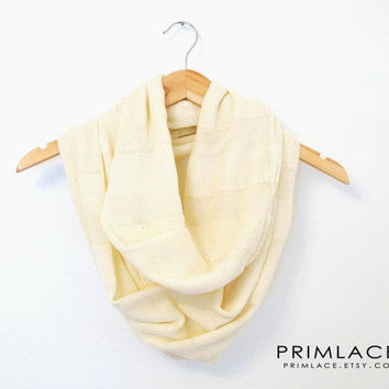 Cream Knit Scarf, Fall Winter Scarf, Knitted Scarf, Infinity Scarves, Cream Infinity Scarf Cram Knit Stripe, Chunky Scarf