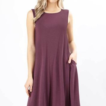Solid A-Line Dress, Three Colors