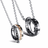 Stainless Steel Love Rings Couples Pendant Necklaces