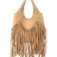 Faux Leather Fringe Tote Bag by Charlotte Russe