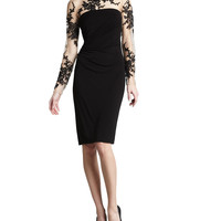 Women's Illusion-Lace Cocktail Dress - David Meister - Black (2)