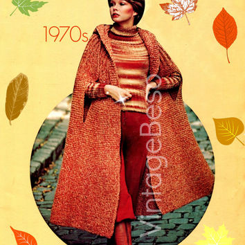 Tweed HOODED CAPE KNITTING Pattern Vintage 1970s Knitted Coat Knitted Jacket Knitted Hood Vintage Beso - Pdf Pattern - Instant Download