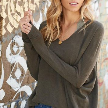 Luxe V-Neck Sweater - Olive
