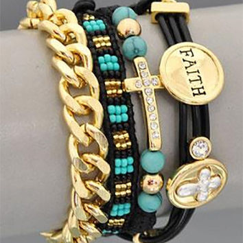 Cross Wrap Charm Bracelet Faith Bead Rhinestone Leather Turquoise Black Gold Chain Trendy Religious Costume Jewelry