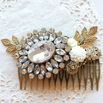 Rhinestone Bridal Hair Comb Wedding Hair Slide Vintage Style Gold Leaves Crystal Pearl Hair Pin for Bride Victorian Art Deco Heirloom Design
