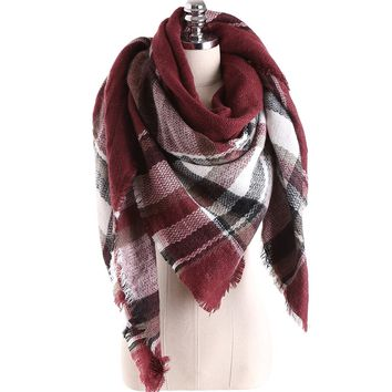 SamiTime Women's Oversized Large Tartan Plaid Blanket Scarf Wrap Shawl with Hair Tie
