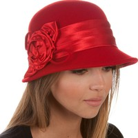EH1121LC - Womens Vintage Style 100% Wool Cloche Bucket Winter Hat with Satin Flower Accent ( 6 Colors ) - Red/One Size