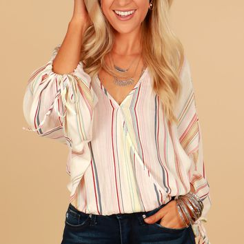 Striped V-Neck Top Multi