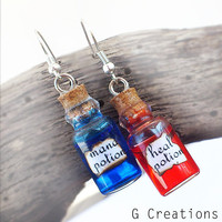 "Miniature ""Heal & Mana"" Bottle Earrings - Potion - Gamer - Liquid - Mini Bottle Jewelry - Geek Geekery Gaming Alternative Gothic"