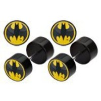 Body Accentz™ Earrings Rings Fake Batman Cheater Plug 16 gauge - Sold as a pair