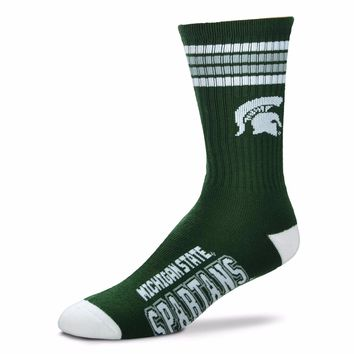 MICHIGAN STATE SPARTANS 4 STRIPE GREEN CREW SOCKS SIZE YOUTH NEW FOR BARE FEET