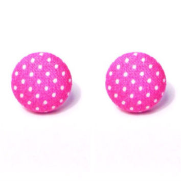 """Handmade """"Pretty in Pink"""" Pink and White Polka Dot Fabric Button Earrings"""