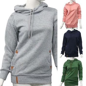 Women's Long Sleeve Heaps Collar Hooded Hoodies Draw Cord Pocket Coat
