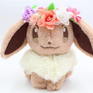 "2018 New Japan PC Easter Eevee 8"" plush toy With Flower Crown Kawaii"