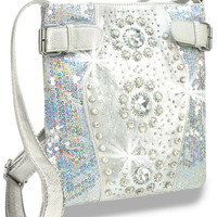 Rhinestone and Iridescent Sequin Accented Cross Body Sling In Silver