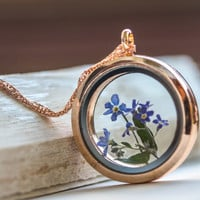 Forgetmenot Necklace real Flower, Rose gold  forgetmenot Glass Locket pendant , Jewelry Woman Real Dried Flowers Pendant,   Mother's Day