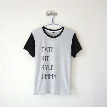 Tate Kit Kyle Jimmy Baseball Tee / Unisex Tshirt  / Evan Peters / Tumblr Inspired / White, Grey / Black Collar + Sleeve  / Plus Size