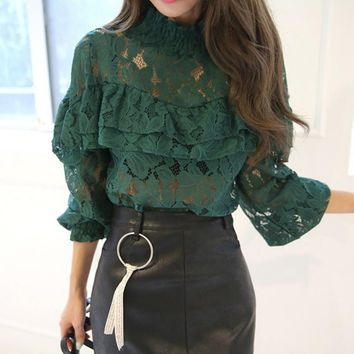 Sexy Ladies Lace Long Sleeve Tops Hollow Out Floral Clubwear Blouse Ruffles Shirts Female