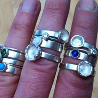 Silver Bubble Stackable Rings