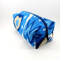 Blue and Cream Ikat Makeup Bag or Pencil Case, Gadgets, Squared Corners, Zippered, Travel, On the Go, Under 15, For Her, Cute, Small