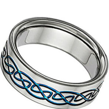 Blue Titanium Celtic Wedding Band Ring From JewelersCraft On Etsy