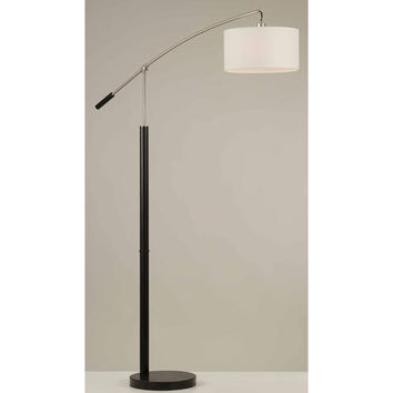 NOVA Lighting 2110284 Oxford Brushed Nickel One-Light Arc Lamp with White Linen Shade