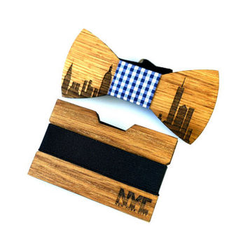New York City Inspired Wooden Gift Bundle for Men Engraved Wooden Money Clip Slim Wallet Minimalist Wood Wallet Gift for Him Father Gift