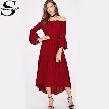 Sheinside Burgundy Off the Shoulder Self Tie Fluted Sleeve Dress Women's Drop Waist Tiered Bardot A Line Dress With Bow