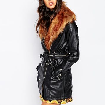 Leather Look Faux Fur Collar Trench Coat