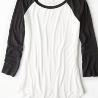 AEO Women's Soft & Sexy Colorblocked Baseball T-shirt (Natural White)