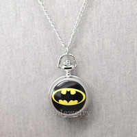 Batman Pocket Watch -Locket Necklace -Watch Necklace -Mirror Inside -Antique Silver