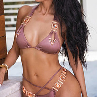 Bikini sexy crystal diamond bandage pure color split