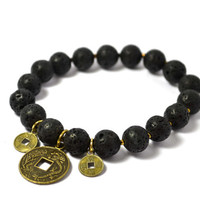 "Lava Stone Prayer Bracelet, Real Gemstones with ""Lucky"" Coin gold colored charm and bracelets."