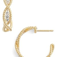 Women's Roberto Coin 'New Barocco' Diamond Hoop Earrings - Yellow Gold