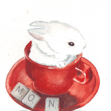 Original watercolor painting of white bunny rabbit in red cup vintage scrabble letter love art