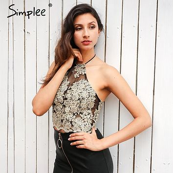 Simplee Elegant white lace crop top Summer beach black short halter tops gold party camis gauze metallic women tank top